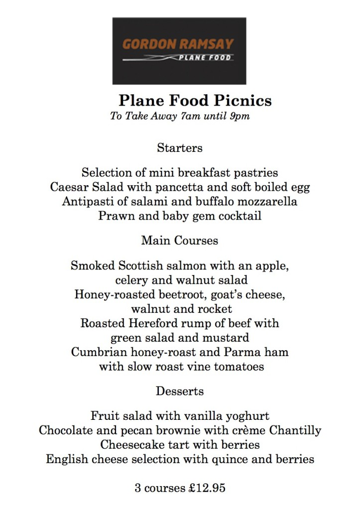 Plane Food's Picnic Menu